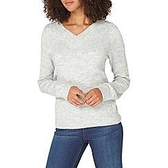 Dorothy Perkins - **tall grey v-neck cold shoulder jumper