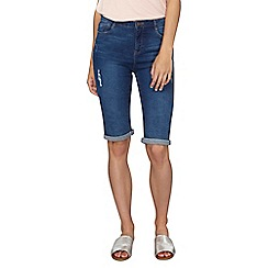 Dorothy Perkins - Tall mid wash abrasion knee shorts