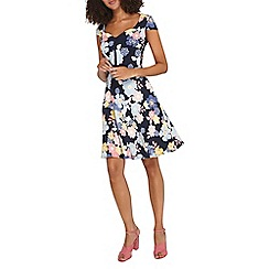 Dorothy Perkins - **Tall blue floral print skater dress