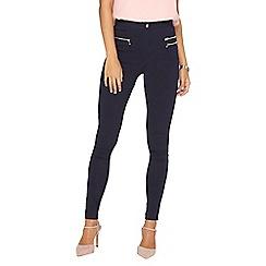 Dorothy Perkins - **tall navy zip skinny trousers