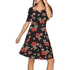 Dorothy Perkins - **tall black floral print sweetheart neck skater dress