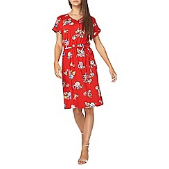 Dorothy Perkins - **tall red floral print midi skater dress