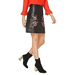 Dorothy Perkins - **tall black floral embroidered faux leather mini skirt