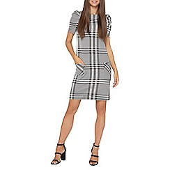 Dorothy Perkins - **tall grey and ivory check puff sleeves shift dress