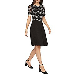 Dorothy Perkins - **tall black two tone lace skater dress