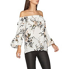 Dorothy Perkins - **tall grey floral print bardot top