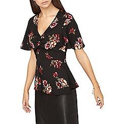 Dorothy Perkins - **tall black floral print tea top