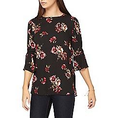 Dorothy Perkins - **tall multi black floral tie sleeve top