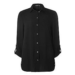 Dorothy Perkins - **tall black roll sleeve side tab shirt