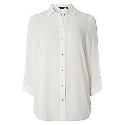 Dorothy Perkins - **tall ivory roll sleeve side tab shirt