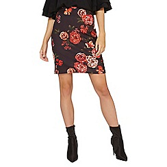 Dorothy Perkins - **tall red floral print mini skirt
