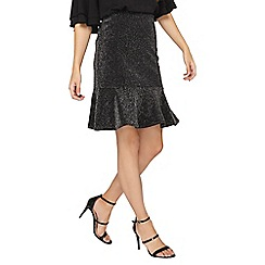 Dorothy Perkins - **tall black shimmer peplum hem skirt