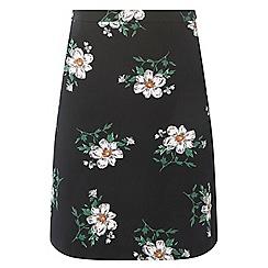 Dorothy Perkins - Tall black floral pique mini skirt