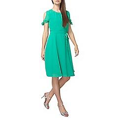 Dorothy Perkins - Tall green chiffon fit and flare dress