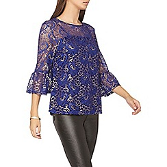Dorothy Perkins - **tall cobalt lace flute sleeves top