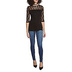 Dorothy Perkins - Black lace 3/4 sleeves top