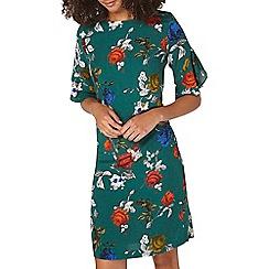 Dorothy Perkins - **tall green floral rose shift dress