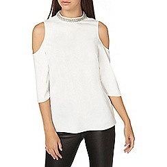 Dorothy Perkins - **tall ivory embellished cold shoulder top