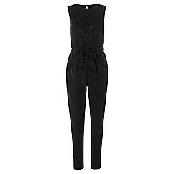 Dorothy Perkins - **tall black glitter tie waist jumpsuit