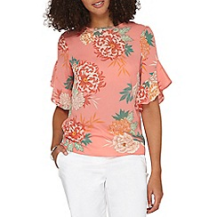 Dorothy Perkins - **Tall coral floral ruffle top