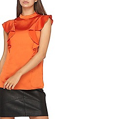 Dorothy Perkins - **tall orange ruffle sleevesless top