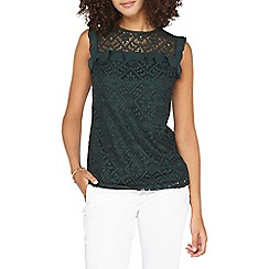 Dorothy Perkins - **Tall green lace frill top