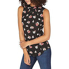 Dorothy Perkins - **tall black floral pleated sleeveless top