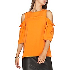 Dorothy Perkins - **tall orange cold shoulder top