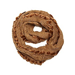 Dorothy Perkins - Camel cable and faux fur snood