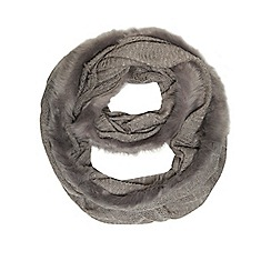 Dorothy Perkins - Grey knit and faux fur snood