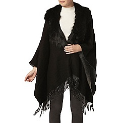 Dorothy Perkins - Black fur collar cape