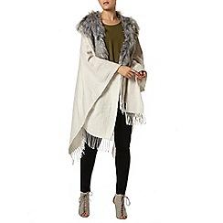 Dorothy Perkins - Grey faux fur collar cape