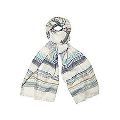 Dorothy Perkins - Cream and blue folk scarf