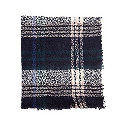 Dorothy Perkins - Navy tartan boucle scarf