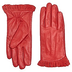 Dorothy Perkins - Red leather frill gloves