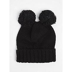 Dorothy Perkins - Black pom pom novelty beanie hat