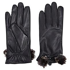 Dorothy Perkins - Black leather faux fur trim gloves