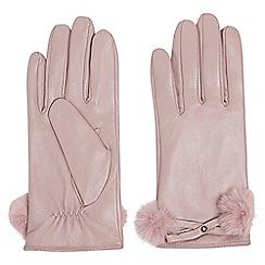 Dorothy Perkins - Blush leather faux fur trim gloves