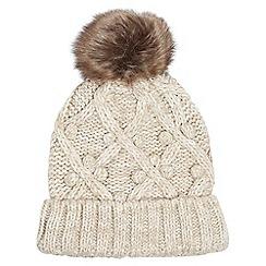 Dorothy Perkins - Popcorn knit faux fur pompom beanie hat
