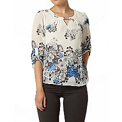 Dorothy Perkins - Billie & blossom: white and blue border print bow sleeve blouse