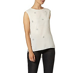 Dorothy Perkins - Luxe white embellished shell top