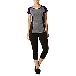 Dorothy Perkins - Active: grey spacedye t-shirt with purple & black side panels