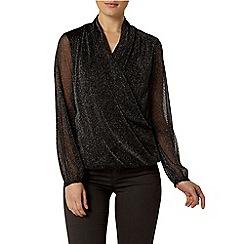 Dorothy Perkins - Billie black label: black sparkle drape long sleeve top