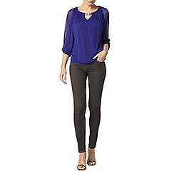 Dorothy Perkins - Billie black label cobalt blue trim blouse
