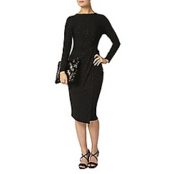 Dorothy Perkins - Billie black label black glitter ruched dress