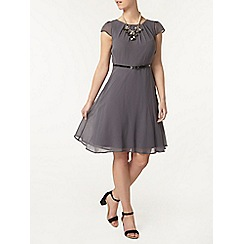 Dorothy Perkins - Billie petites charcoal chiffon belted dress