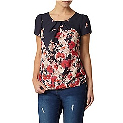 Dorothy Perkins - Billie petites: navy multi floral and butterfly border shell top