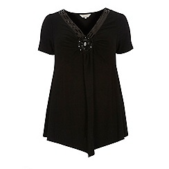 Dorothy Perkins - Billie curve black embellished v neck top