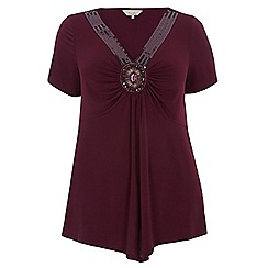 Dorothy Perkins - Billie curve magenta embellished v neck top