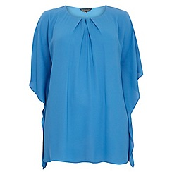 Dorothy Perkins - Billie curve: blue flutter sleeve top